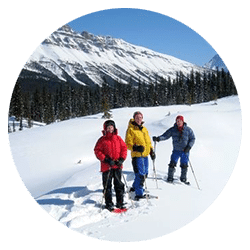 three snowshoers in a meadow