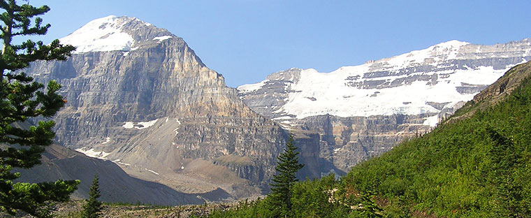 Mount Lefroy and Mount Victoria from the Plain of Six Glaciers trail