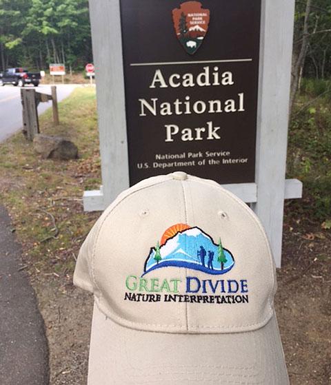Great Divide baseball hat at Acadia National Park