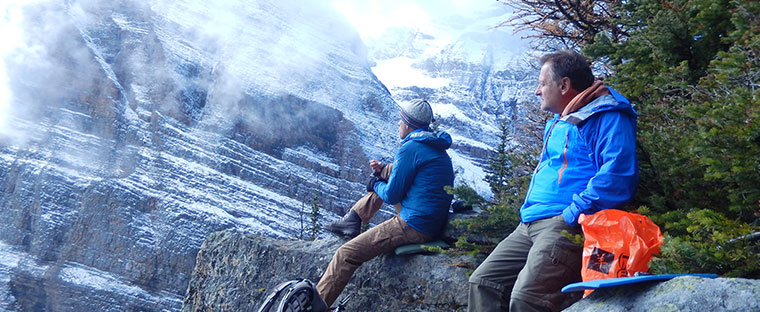 guide Joel Hagen and guest near Saddleback Pass