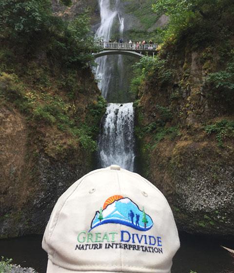 Great Divide baseball hat at Multnomah Falls