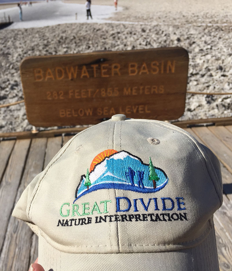 Great Divide baseball hat at Badwater Basin, Death Valley